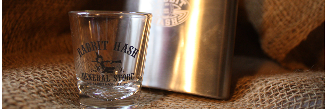Rabbit Hash shot glass and flask
